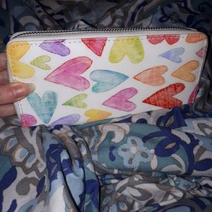 White wallet with colorful hearts